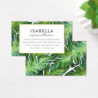 Modern Green Tropical Leaves Business Card