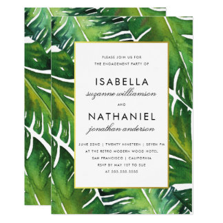 Modern Green Tropical Leaves Engagement Party Card