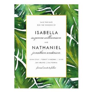 Modern Green Tropical Leaves Save The Date Postcard