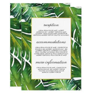 Modern Green Tropical Leaves Wedding Information Card
