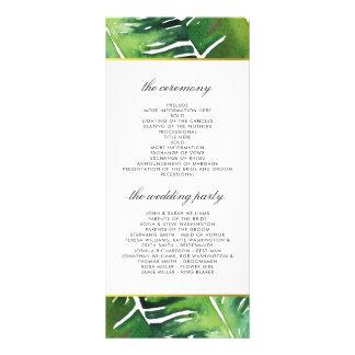 Modern Green Tropical Leaves Wedding Program Rack Card