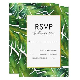 Modern Green Tropical Leaves Wedding RSVP Card