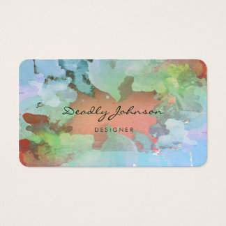 Modern Green Watercolor  Abstract Elegant Cool Business Card