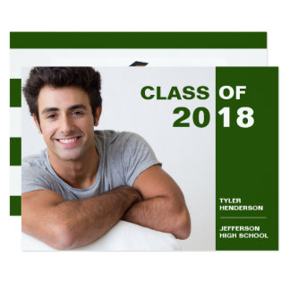Modern Green White Graduation Photo Party Invite