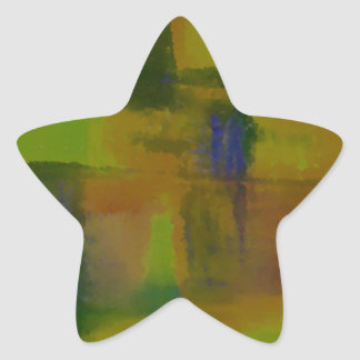 Modern Green Yellow Abstract Star Stickers