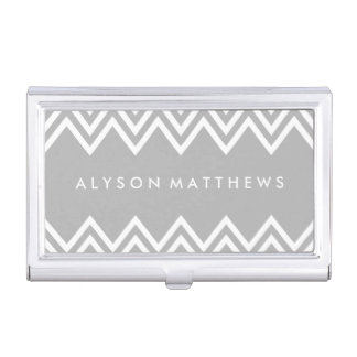 Modern Grey and White Chevron Business Card Case