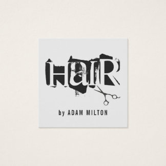 Modern Grey Black Scissors Hair Stylist Square Business Card