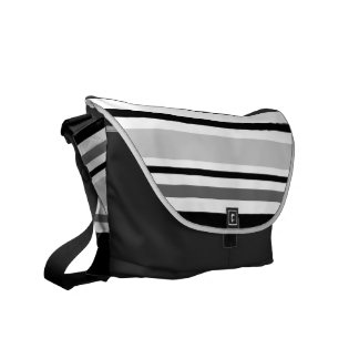 Modern Grey, Black, White Stripes Courier Bag