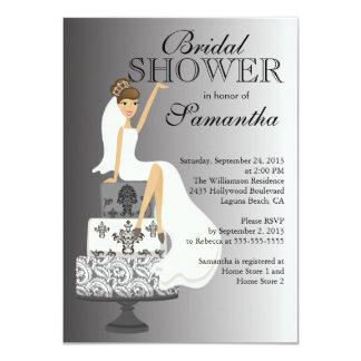 Modern Grey Brunette Bride Bridal Shower 11 Cm X 16 Cm Invitation Card
