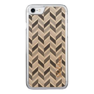 Modern grey chevron geometric pattern monogram carved iPhone 8/7 case