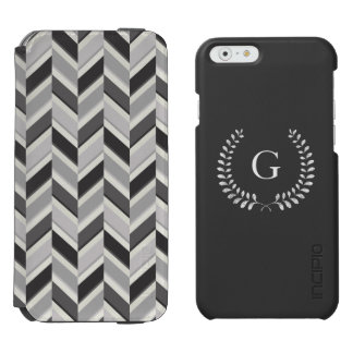 Modern grey chevron geometric pattern monogram incipio watson™ iPhone 6 wallet case