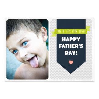Modern Grey Chevron Photo Father s Day Flat Card