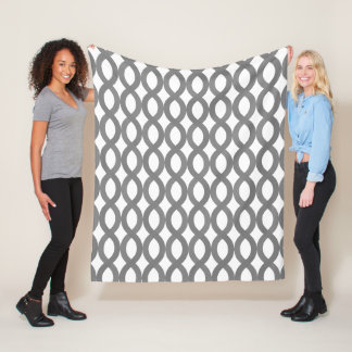 Modern Grey Figure-Eight Pattern Fleece Blanket