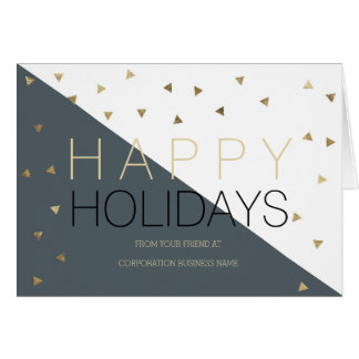 Modern grey gold color block corporate greetings greeting card