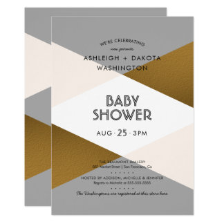 Modern Grey & Gold Geometric Baby Shower Card