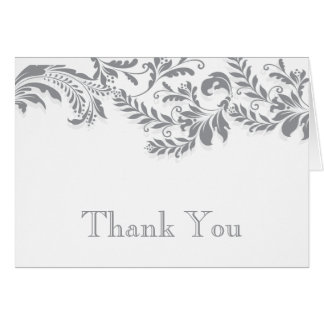 Modern Grey  Leaf Flourish Thank You Note Card