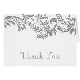 Modern Grey  Leaf Flourish Thank You Note Note Card