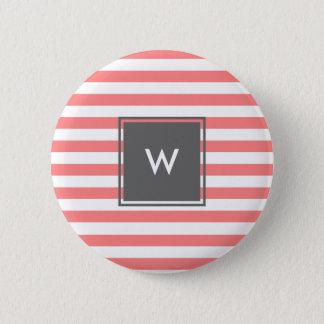 modern grey monogram with coral stripes 6 cm round badge