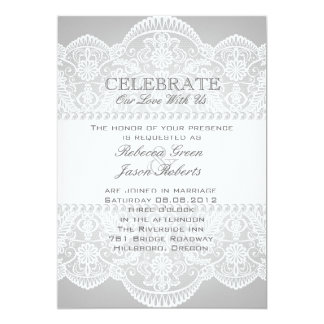 modern Grey pearl white lace vintage wedding Card