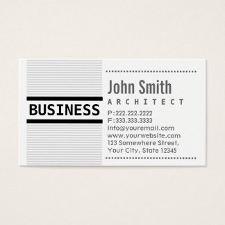 Modern Grey Stripes Architect Business Card