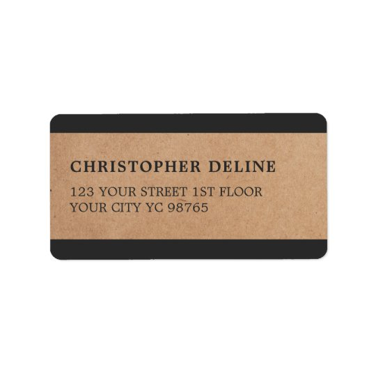 Modern Grey Stripes Kraft Paper Label Address Label