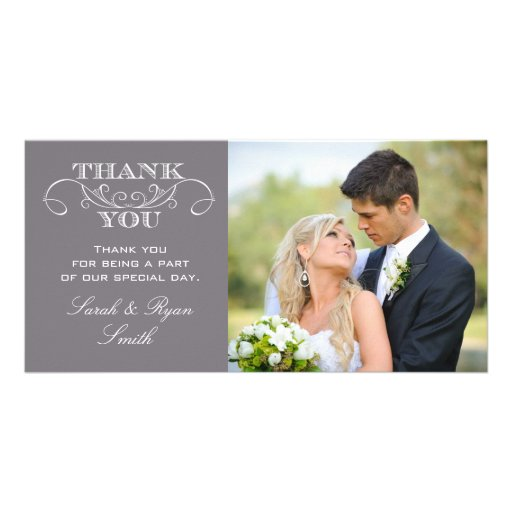 Wedding Gift Thank You Cards Uk : Modern Grey Wedding Photo Thank You Cards Photo Card Zazzle