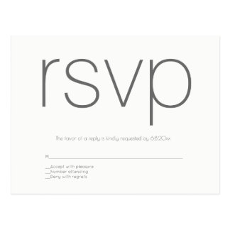 Modern grey wedding rsvp postcards