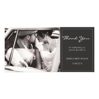 Modern Grey Wedding Thank You Photocard Custom Photo Card