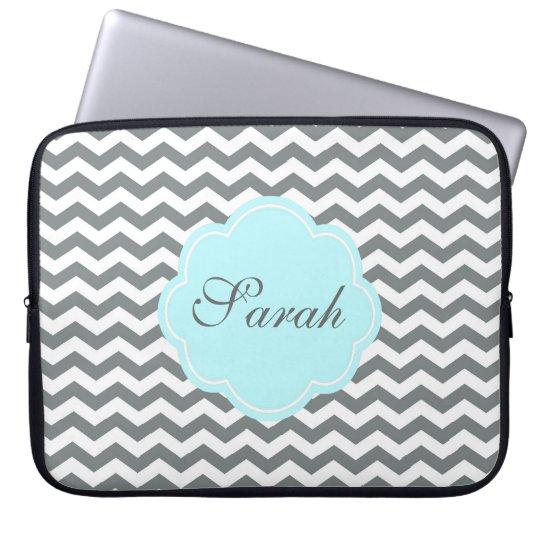 modern  grey, white chevron monogram laptop sleeve