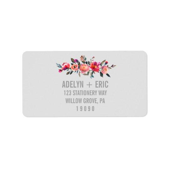 Modern Grey   Winter Flower Wedding Label