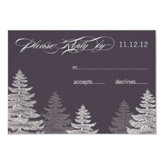 Modern Grey Winter Wedding RSVP Cards Trees 9 Cm X 13 Cm Invitation Card