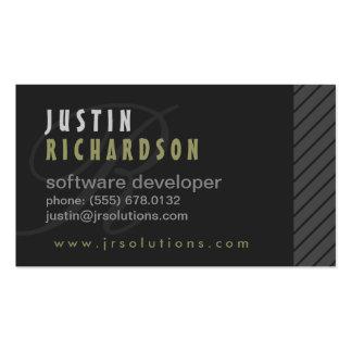 Modern Grey with Side Slant Design Business Card