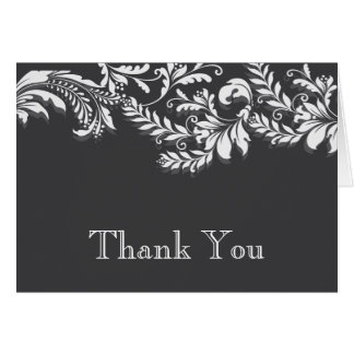 Modern GreyFloral Leaf Flourish Thank You Note Stationery Note Card