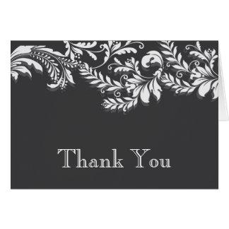 Modern GreyFloral Leaf Flourish Thank You Note Note Card