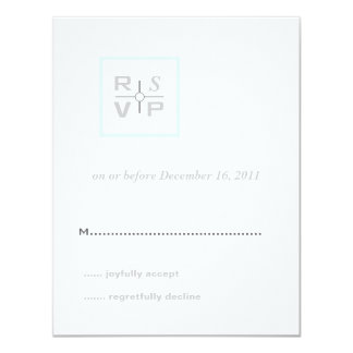 Modern Grid Aqua Wedding Invitation RSVP Card