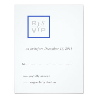 Modern Grid Blue Wedding Invitation RSVP Card