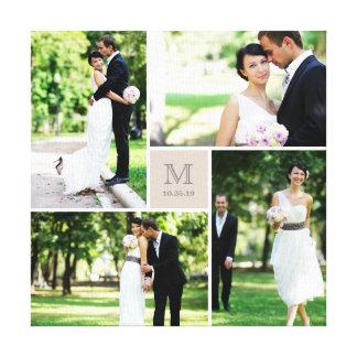 Modern Grid Monogram Wedding Photo Collage Canvas Canvas Print