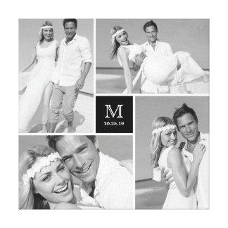 Modern Grid Monogram Wedding Photo Collage Canvas Gallery Wrap Canvas