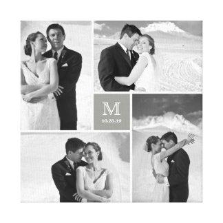 Modern Grid Monogram Wedding Photo Collage Canvas Stretched Canvas Prints