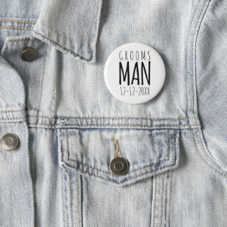 Modern Groomsman Wedding Pin Button
