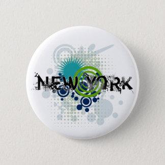 Modern Grunge Halftone New York Button