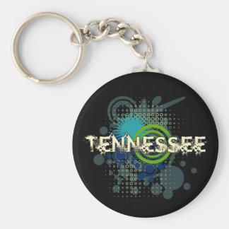 Modern Grunge Halftone Tennessee Keychain Dark