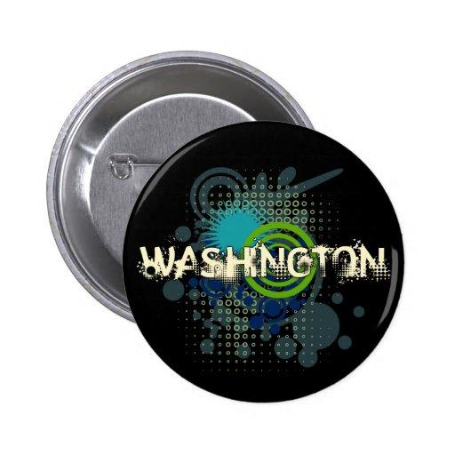 Modern Grunge Halftone Washington Button Dark
