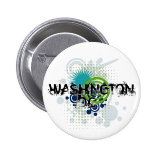 Modern Grunge Halftone Washington DC Button