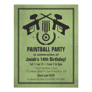 Modern Grungy Paintball Birthday Party Invitations