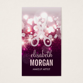 Modern Hair Stylist - Pink Glitter Sparkle Business Card