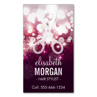 Modern Hair Stylist - Pink Glitter Sparkle Magnetic Business Cards