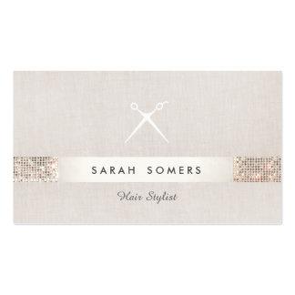 Modern Hair Stylist Scissors FAUX Sequin Salon Pack Of Standard Business Cards