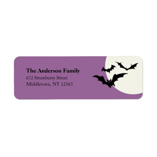 Modern Halloween Bats Address Label - Purple
