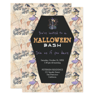 Modern Halloween witches with broom party Card